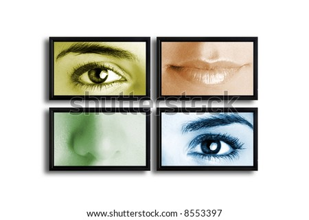 Four TV's on a white wall showing a presentation with parts of the female face - stock photo