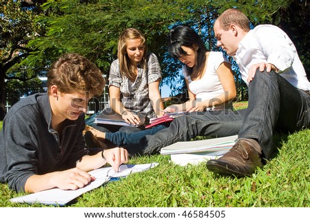 Four university students comparing their notes from college, sitting in the park on a beautiful day
