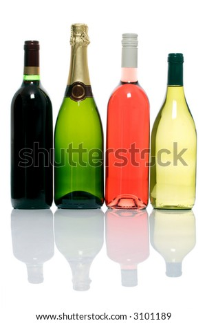 four unopened bottles of alcoholic beverages