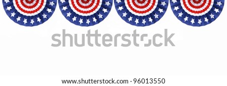 Four US Flag Buntings isolated on white background with room for your text