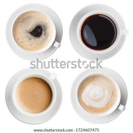 Four various coffee cups top view set isolated on white