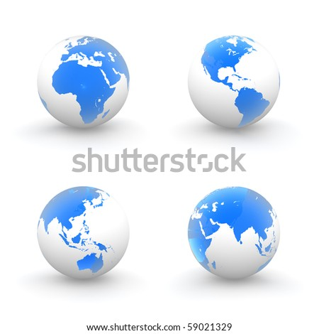 four views of a 3D globe with shiny blue transparent continents and a white ocean
