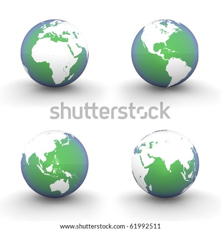four views of a 3D globe with white continents and a green-blue metallic ocean