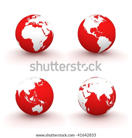 four views of a 3D globe with white continents and a red ocean