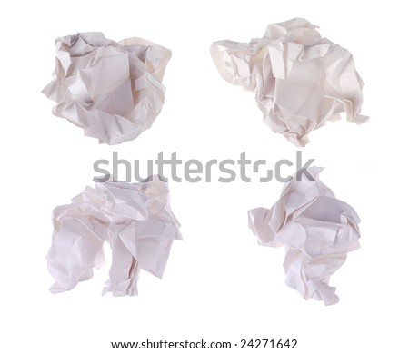 four waste papers on white background