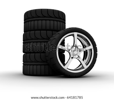 Four wheel isolated on a white background
