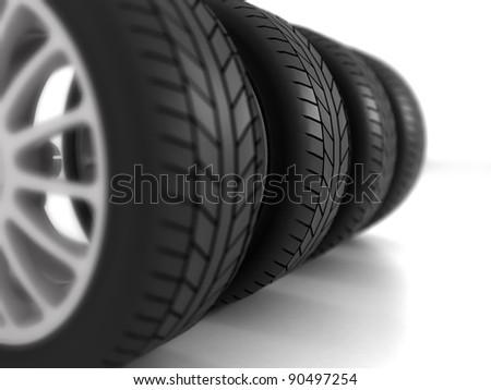 Four Wheels on white Background