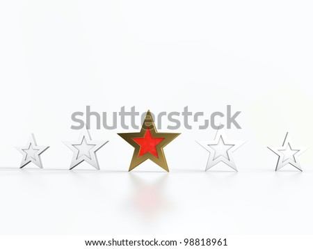 Four white stars and one golden and red star in center.