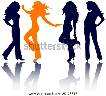 four women in jeans, high heels and long hair ? silhouettes