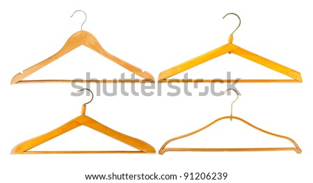 Four wooden hangers isolated on white background