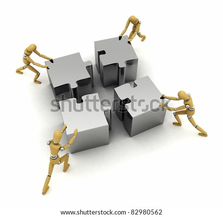 Four wooden mannequins pushing puzzle pieces in place