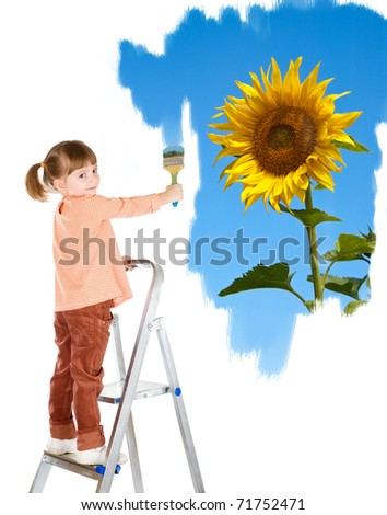 four-year girl on a ladder and draws a picture. It is isolated on a white background