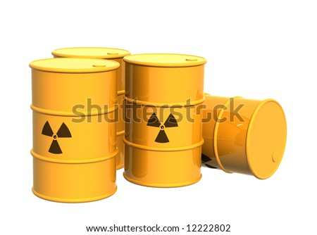 Four yellow tanks with a radioactive symbol. Object over white