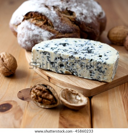 Fourme d'ambert cheese and loaf of bread
