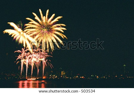 Fourth of July Firework with Space Needle background