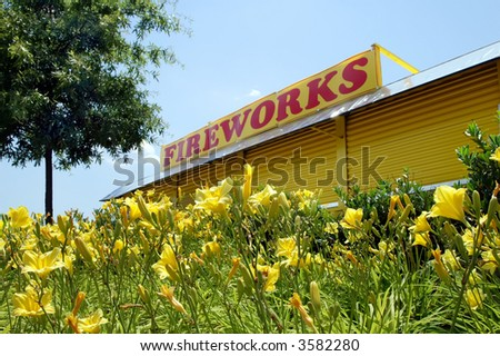 Fourth of July Fireworks Stand with Yellow Daylilies in the Foreground
