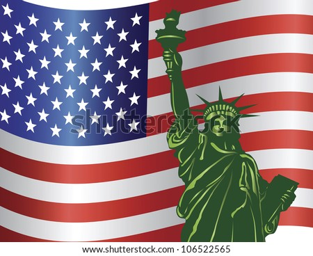 Fourth of July Independence Day Statue of Liberty with USA American Flag Raster Vector Illustration