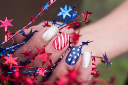 Fourth of July Stars and Stripes on nails