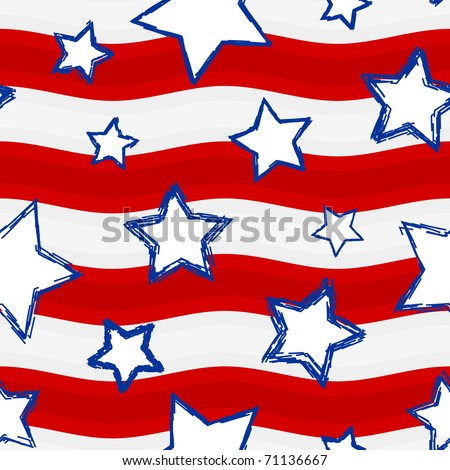 Fourth of July Stars and Stripes Seamless Background � Raster Version