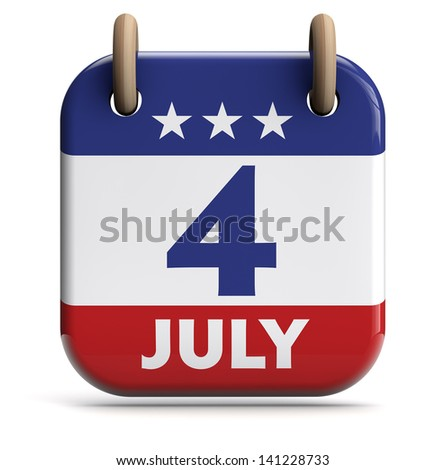 Fourth of July USA calendar isolated on white.