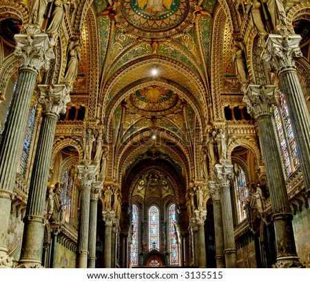 Fourviere basilica nave contains some beautiful stained glass, as well as some 19th century Byzantine art.