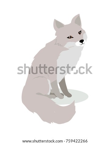 Fox cartoon character. Cute fox flat  isolated on white background. North America and Eurasia fauna. Fox icon. Animal illustration for zoo ad, nature concept, children book illustrating