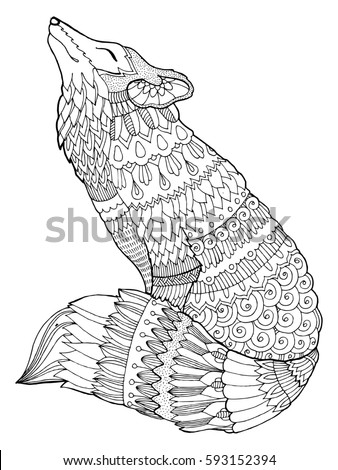 detail fox coloring book raster illustration black and white lines lace pattern 593152394 - Fox Coloring Book