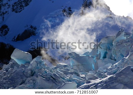 Fox glacier at Mount Cook, Aoraki national park in New Zealand