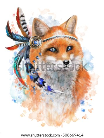 fox with red and blue feathers. gems and feathers, watercolor background. Splash paint. Ethnic fox illustration. Tribal,  isolated, poster, feather