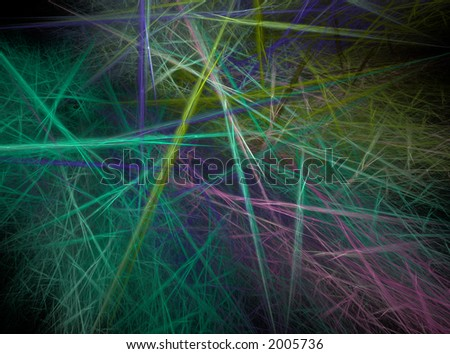 Fractal abstract - Chaotic coloured lines - stock photo