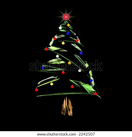 Fractal abstract design of christmas tree with colored christmas balls and glowing light on top.