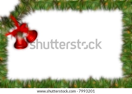 Fractal Christmas frame decoration isolated on white (Collage) #7993201