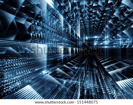 Fractal City series. Abstract arrangement of three dimensional fractal structures and lights suitable as background for projects on technology, communications, education and science