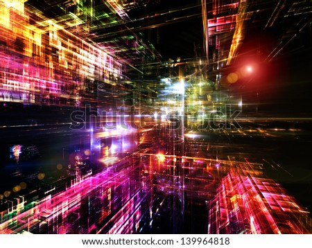 Fractal City series. Background composition of  three dimensional fractal structures and lights to complement your layouts on the subject of technology, communications, education and science