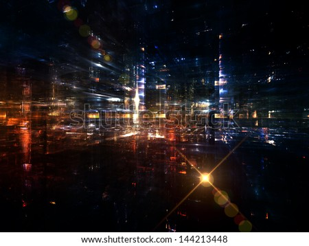 Fractal City series. Background design of three dimensional fractal structures and lights on the subject of technology, communications, education and science