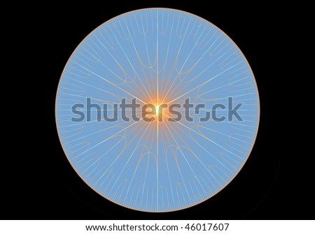 Fractal design in the form of a geometric pattern with a sun-burst effect at the centre on a Black background