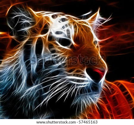 Fractal design of a siberian tiger