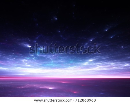 Stock Photo Fractal Horizons: Abstract render of a surreal sky over tranquil waters
