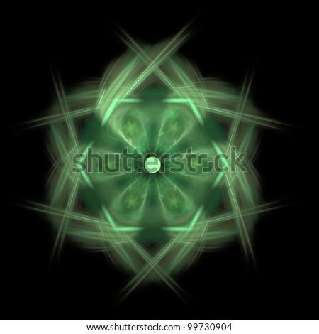 Fractal illustration of a green hexagon over a black background.