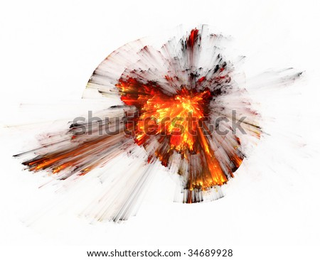 fractal illustration of color combustion on white
