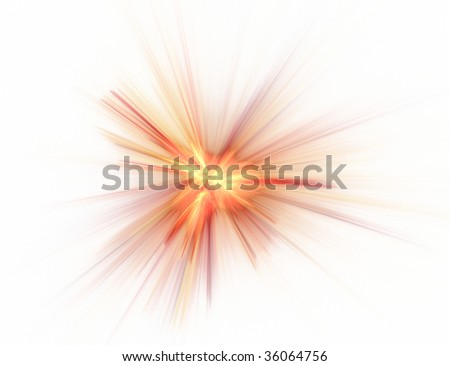 fractal illustration of color combustion on white - stock photo