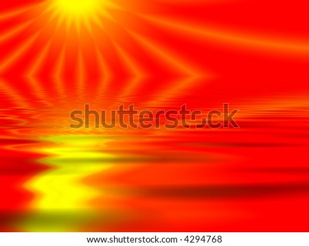 Fractal image of the abstract depiction of a sunset reflected in water.