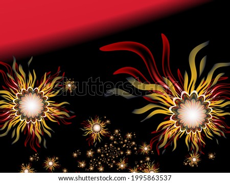 Fractal image with flowers on dark background.Template with place for inserting your text.Multicolor flowers. Fractal art as background. Zdjęcia stock ©