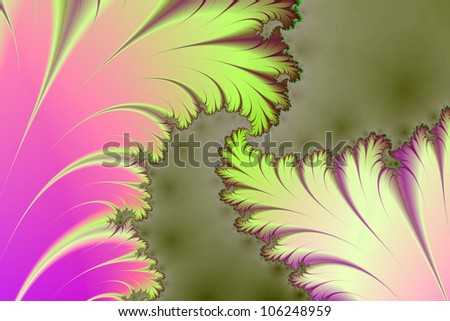 Fractal Leaves/Digital abstract image with a fractal leaf design in pink green and yellow.