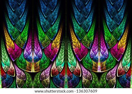 Fractal pattern in stained glass style. Computer generated graphics. #136307609