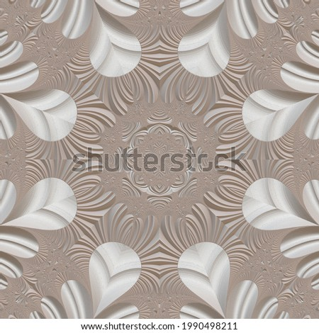 Fractal pattern in the style of stucco bas-relief on a gray stone wall Stockfoto ©