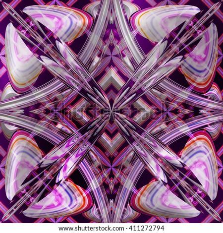 Fractal purple floral pattern, abstract simetrical texture, digital illustration art work. #411272794