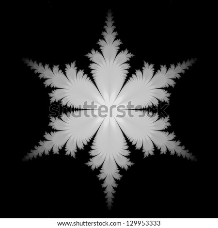 Fractal Snowflake / Digital abstract fractal image with a snowflake design in black and white.