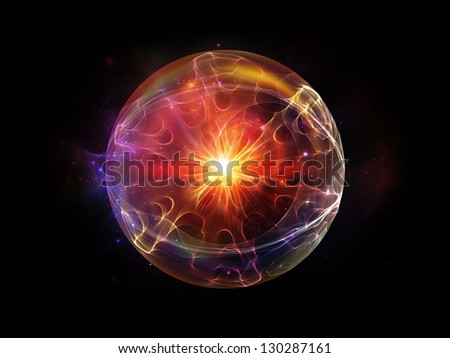 Fractal Sphere Series. Composition of  spherical and circular fractal elements to serve as a supporting backdrop for projects on abstraction, graphic design and modern technology - stock photo