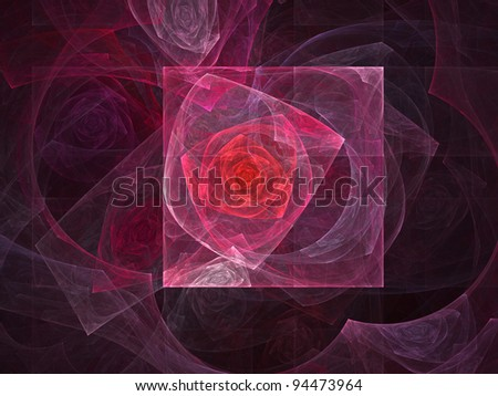 Fractal squared rose over a black background. Great for your backgrounds and compositions - stock photo